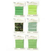 Cousin DIY Wide Elastic 6 Pack, 18 feet, Green Polka Dot, Zig-Zag Patterns
