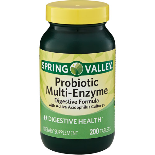 Spring Valley Probiotic Multi-Enzyme Digestive Formula Tablets, 200 count