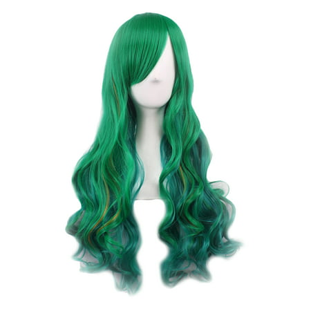 Ustyle Women Long Curly Wig Female Girls Dark Green Gradient Fake Synthetic Hair Party Cosplay Wigs - image 1 of 1