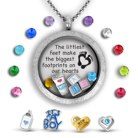 Best Baby Gifts Baby Keepsake Necklace Silver Etch Finish | Mom Jewelry Unique Baby Gifts Filled With Baby Charms And Exclusive Message Locket Baby Footprint Jewelry | Baby Boy Charm (Exclusive Jewelry)