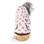 Beige Dots with Hat Ultra soft fleece Hoodie Warm Coat Dog Jacket Clothes - Small (Gift for Pet)