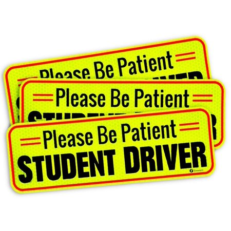 Zone Tech Vehicle Bumper Magnet – 3 Pack  Please Be Patient Student Driver Effective Bumper Decal Neon Yellow