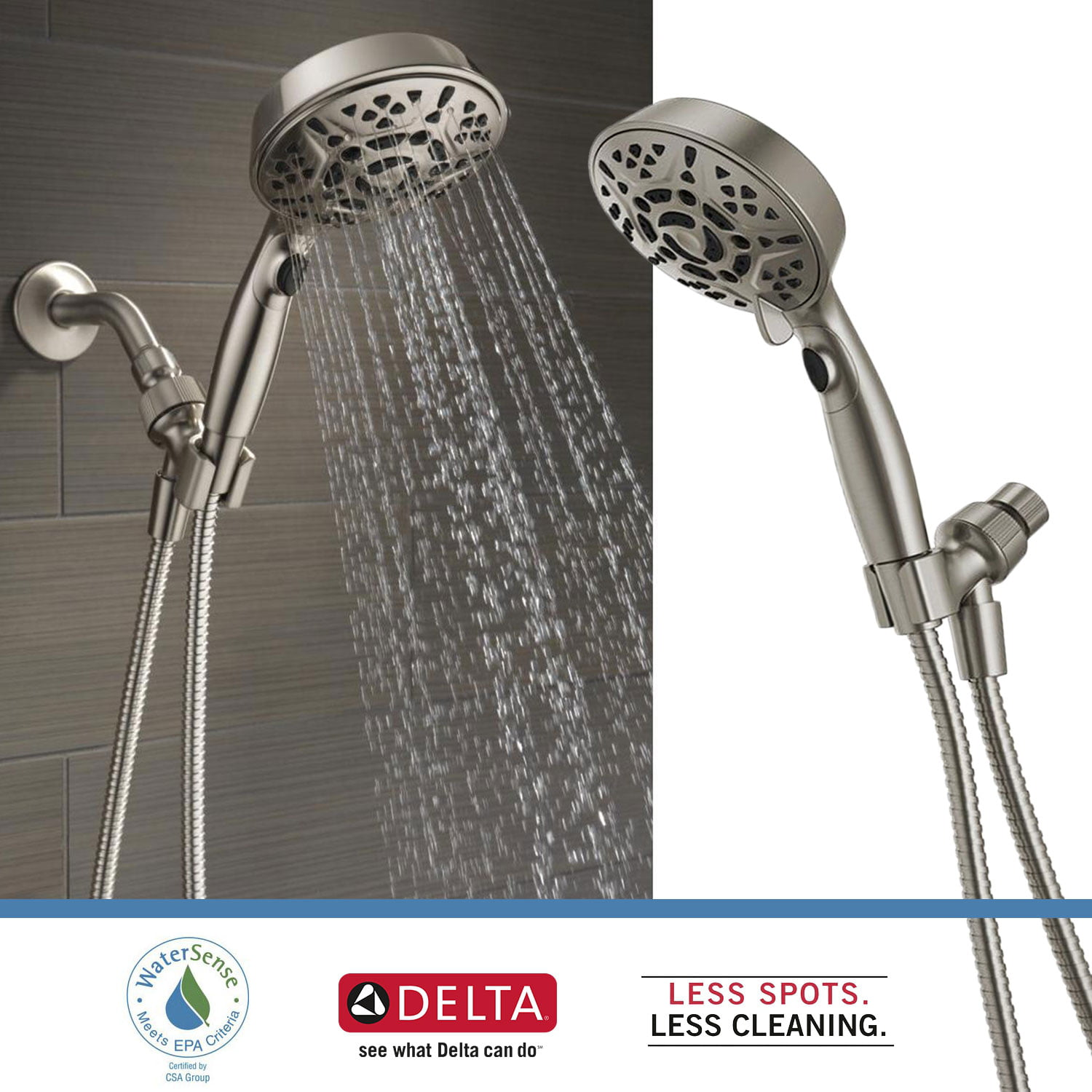 Delta Faucets 7 Spray Head Shower Head Handheld Dual H2okinetic Brushed Nickel Walmart Com