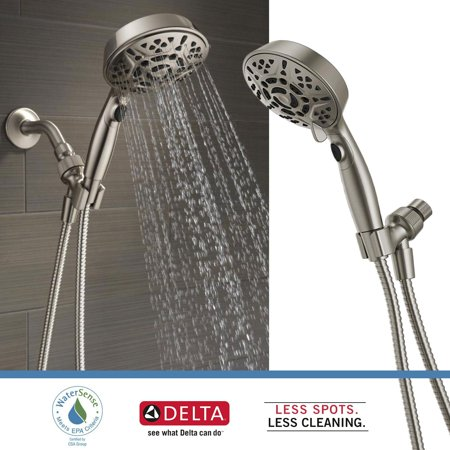 - Delta Faucets 7-Spray Head Shower Head Handheld Dual H2Okinetic, Brushed Nickel