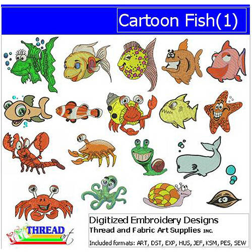 ThreadArt Machine Embroidery Designs Cartoon Fish Version 1 CD
