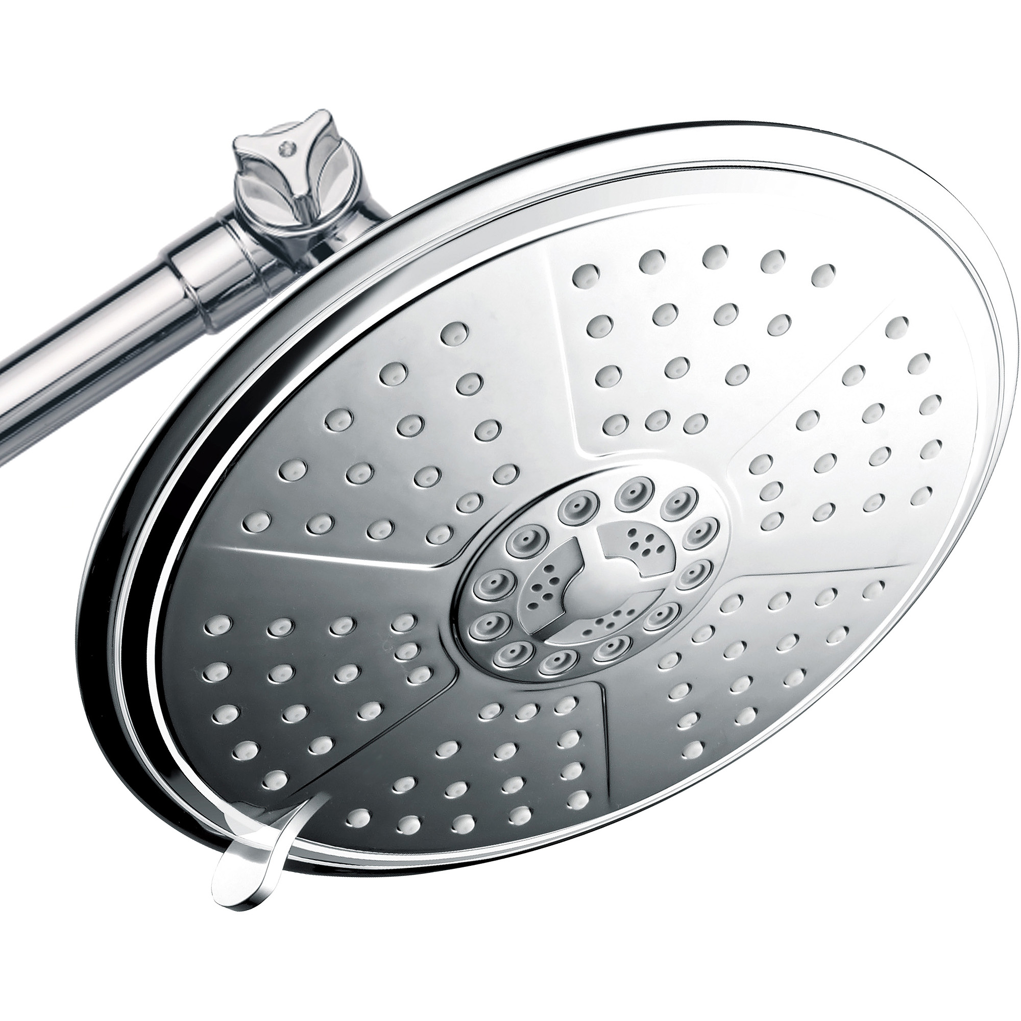 "PowerSpa 7"" 5-Setting Rainfall Showerhead with 12"" Adjustable Extension Arm, Chrome"