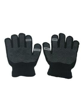 Girls Black Contrast Dotted Winter Gloves