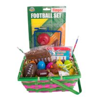 "Sports Football Theme Boys Filled 32pc 10"" Easter Basket Gift Set, Yellow Black"