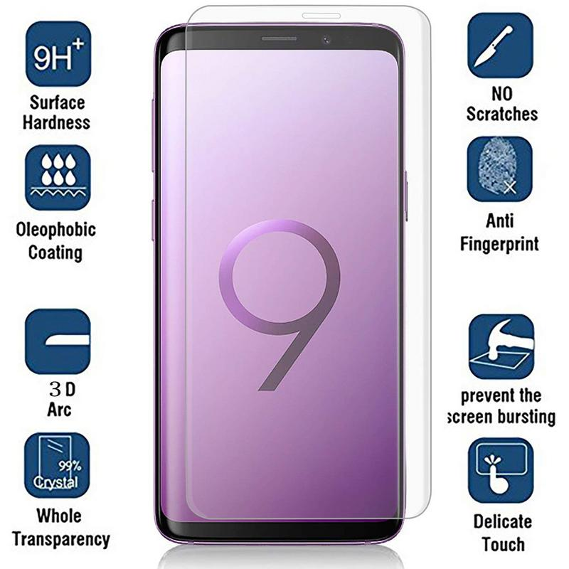 SAMSUNG GALAXY S9 TEMPERED GLASS SCREEN PROTECTOR FOR SAMSUNG GALAXY S9 BUBBLE FREE HD PROTECTIVE FILM CLEAR
