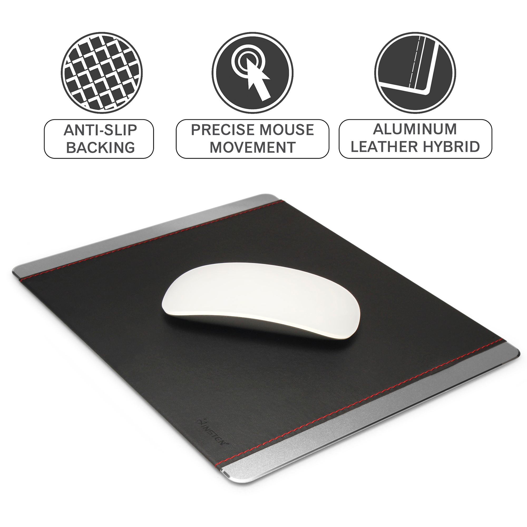 Insten Aluminum w/Leather Strong Durable Mouse Pad 3mm Thick Non-Slip Mice Mat (Size: 24 cm x 20cm) For Laptop PC Gaming - Silver/Black