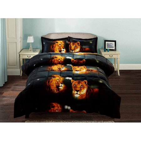Lion 3 Piece Set (3 Piece 3D Comforter Set -3D Male And Female Lions Printed Comforter Set Queen Size (Y15) - Box Stitched, Soft, Breathable, Hypoallergenic, Fade Resistant - 1pc 3D print Queen Comforter,)