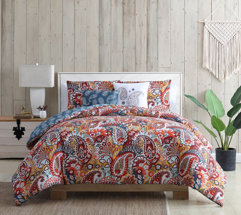 Vcny Home Bree Reversible Red Paisley Comforter Set Twin Twin Xl Red Walmart Com Walmart Com