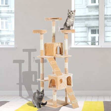 Multi-Level Cat Tree w/ Toy Scratching Post Tower Beige - image 4 of 7