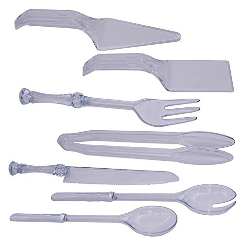 Disposable Plastic Serving Utensil Set, Tong, Fork, Knife, Salad Spoons, Cake servers Comb