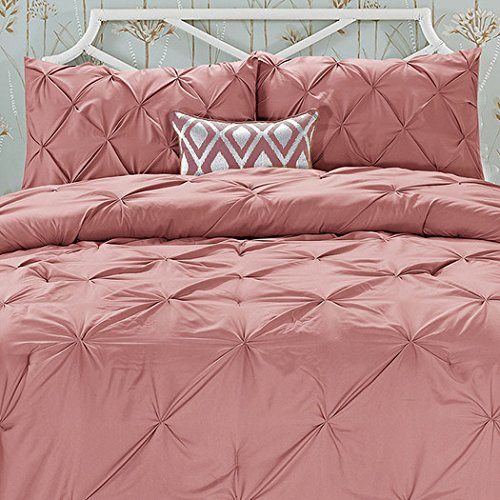 Wrinkle Resistant - All Season Luxury Silky Soft Pintuck 3-Piece Comforter Set - King Coral, Our luxuriously silky brushed microfiber material is constructed using.., By Elegant Comfort