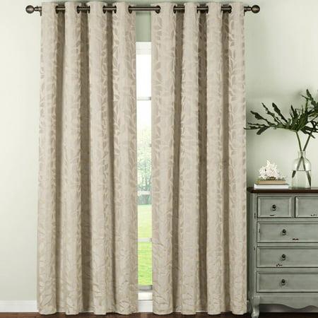 Alpine Textured Woven Leaf Jacquard Grommet Curtain Panels