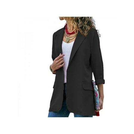 Women Casual Long Sleeve Lapel Slim Blazer Coat