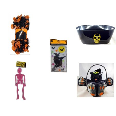 Halloween Fun Gift Bundle [5 Piece] -  Black & Orange Pumpkin Garland 10 ft. - Black With Skeleton Oval Party Tub - Gel Clings Witch, Bats, Stars - Hanging Skeleton Pink - Plush Black Cat  Basket 8""