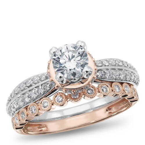 West End Collection, 14K White and Rose Gold Diamond Engagement Ring, 1 ctw.