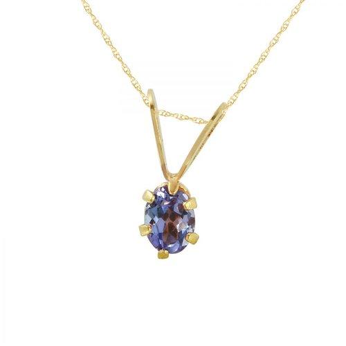 Ladies 0.16 Carat Tanzanite 14K Yellow Gold Necklace by Generic