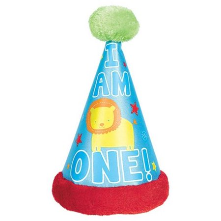 Amscan 259201 First Birthday One Wild Boy Cone Hat With Faux Fur Trim