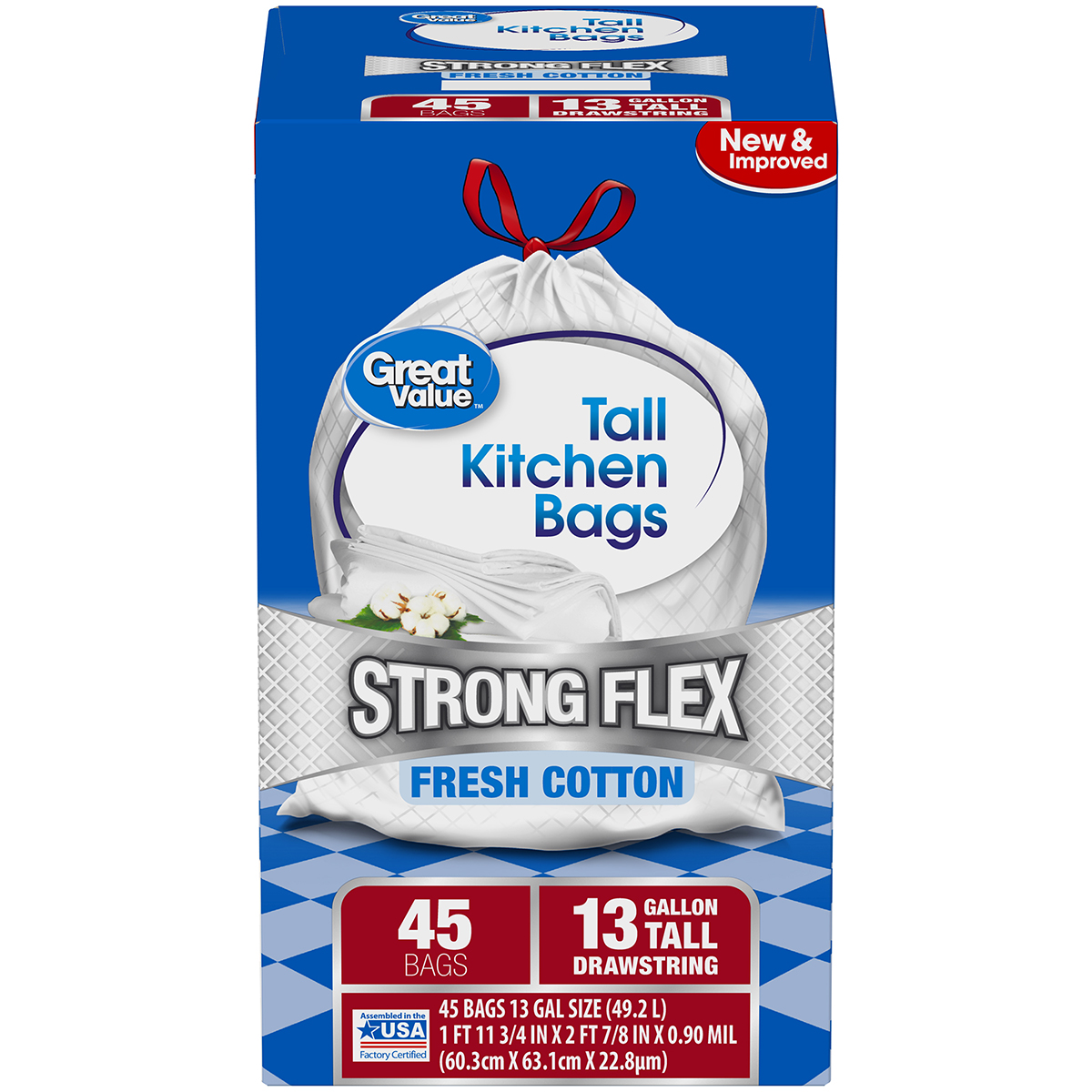 Great Value Strong Flex Tall Kitchen Drawstring Trash Bags, Fresh Cotton, 13 Gallon, 45 Count