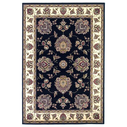 KAS Rugs Cambridge 7339 Black and Ivory Floral Mahal Machine-Made 100% Heat-Set