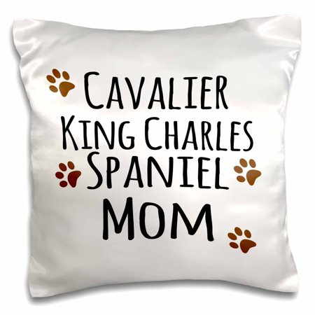 3dRose Cavalier King Charles Spaniel Dog Mom - Doggie by breed - brown muddy paw prints - doggy lover owner, Pillow Case, 16 by