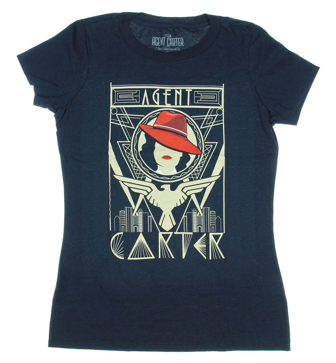 Her universe Marvel Agent Carter Dco Gold Womens Navy T-Shirt