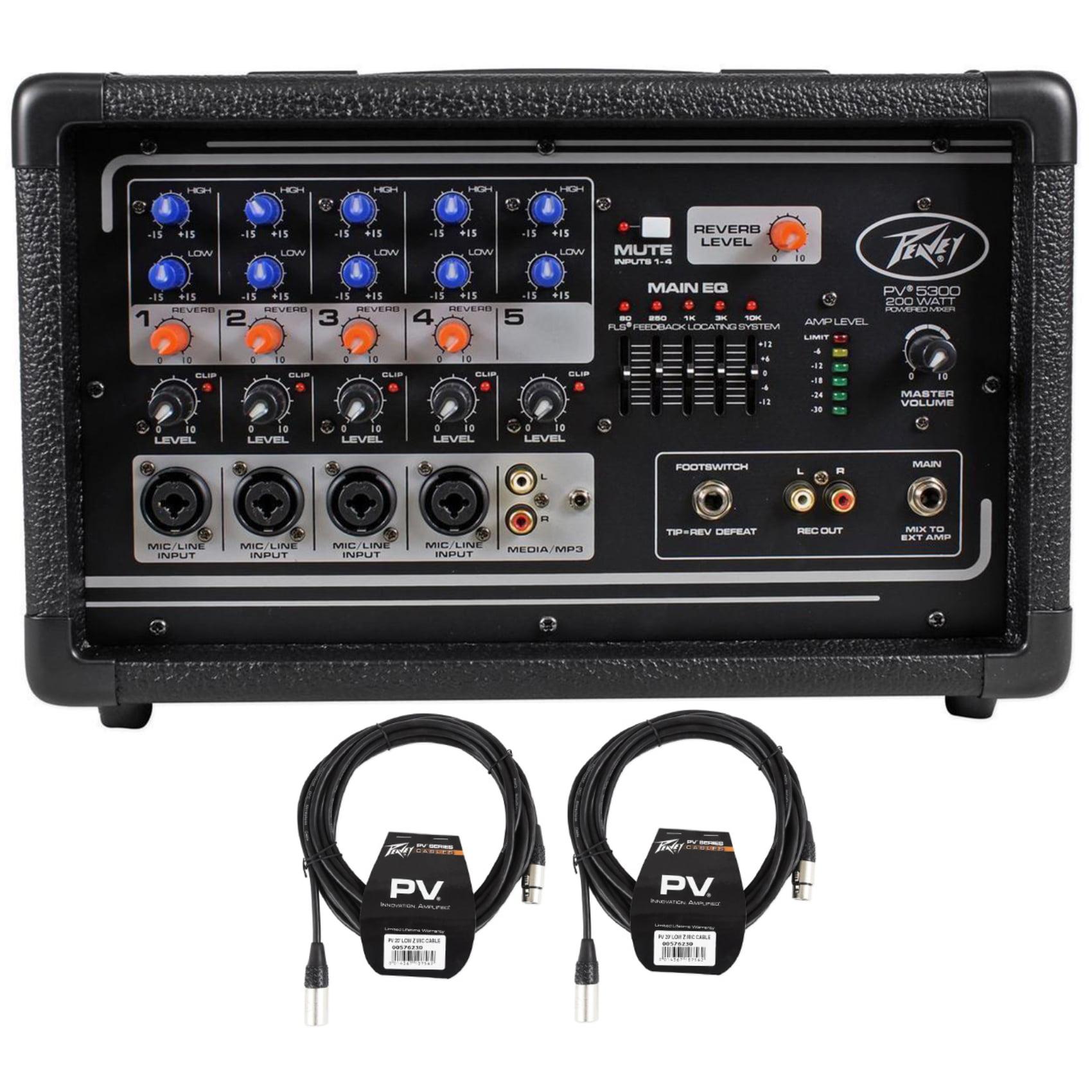 Peavey PV5300 200 Watt 5-Channel Powered Mixer + (2) XLR Cables PV 5300