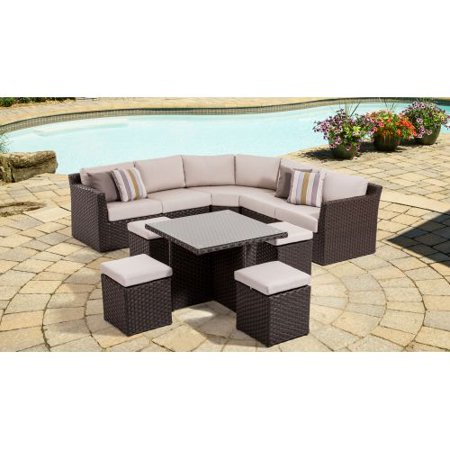 Miseno Mpf350otsec Naples Outdoor Chat Set With Aluminum Frame Flat Wicker And