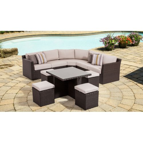 High Quality Miseno MPF350OTSEC Naples Outdoor Chat Set With Aluminum Frame, Flat Wicker  And