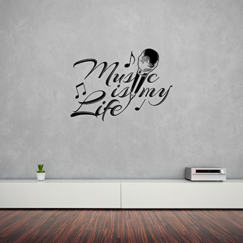 Music is my Life Wall Decal - Music Wall Sticker, Musical Vinyl Wall Art, Home Decor, Melody Wall Mural - 4582 - White, 16in x 11in
