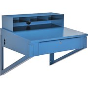"Shop Desk Wall Mount, 34-1/2""W x 30""D x 32-1/2""H, Blue"