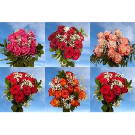 Globalrose 3 Dozen Red Roses And 3 Dozen Assorted Color Roses For Mothers Day Long Stem   Fresh Flowers Express Delivery For Mothers Day