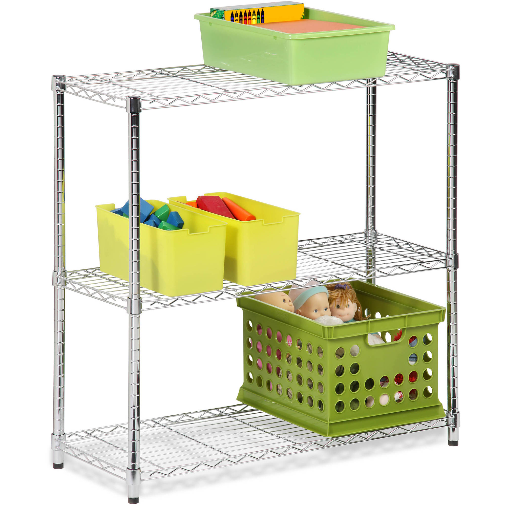 Honey Can Do Urban 3-Shelf Steel Storage Shelving Unit, Chrome ...