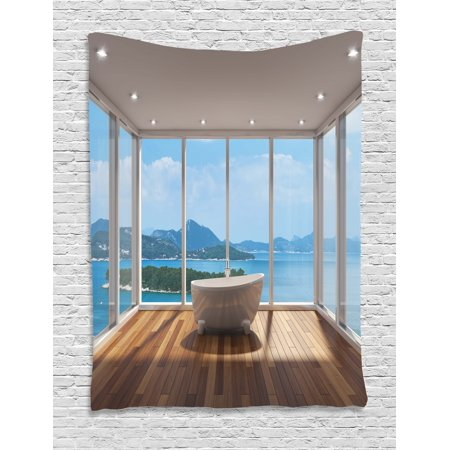 Bathroom Decor Tapestry, Minimalist Design Bathtub with Relaxing Scenery of Islands, Wall Hanging for Bedroom Living Room Dorm Decor, 60W X 80L Inches, White Light Brown and Blue, by Ambesonne ()