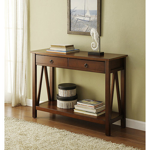 Linon Titian Console Table, Antique Tobacco, 31 inches Tall