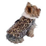 Brown Leopard Plush Fleece Lining Coat For Dog - Extra Small (Holiday Christmas Gift for Pet)