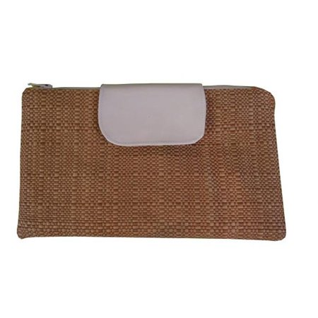Caught Ya Lookin 6-71-3-110 Straw and White Patent Leather Clutch