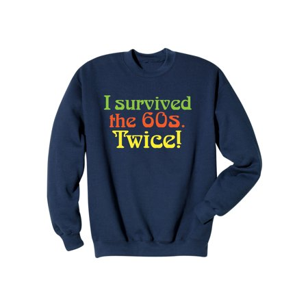 What On Earth Unisex I Survived the 60s Twice T-Shirt Top - Navy Blue Tee ()