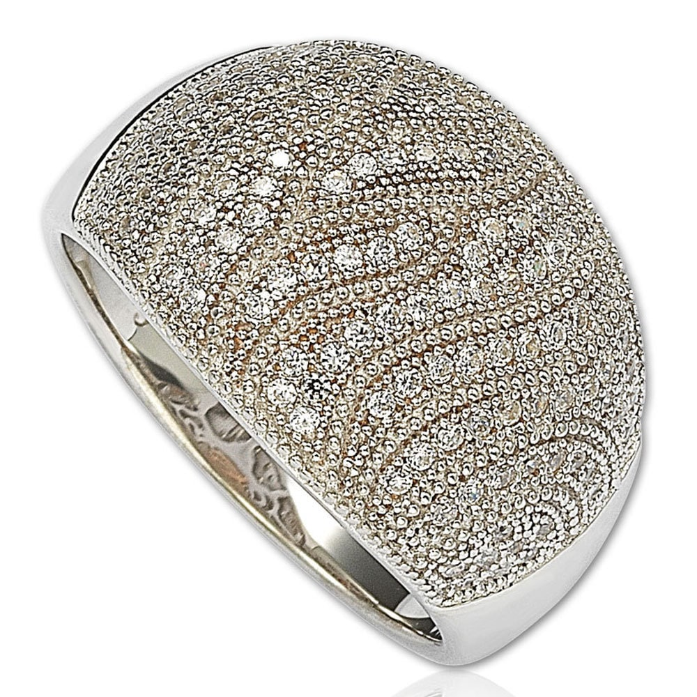 Suzy Levian  Sterling Silver Cubic Zirconia Pave Anniversary Ring