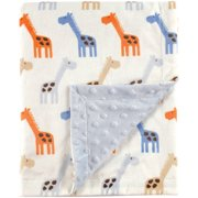 Hudson Baby Boy and Girl Mink Blanket with Dotted Mink Back - Blue