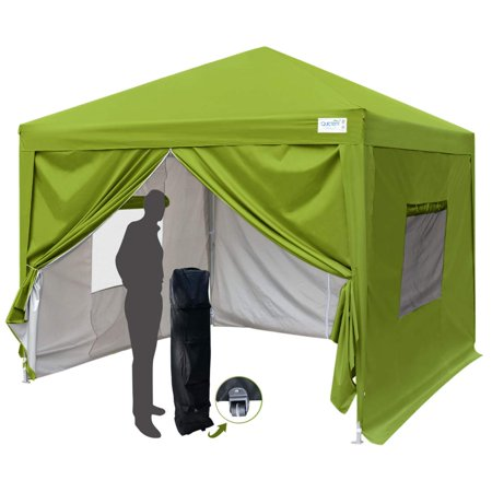 Quictent Privacy 10x10 EZ Pop Up Canopy Tent Party Tent Gazebo with Mesh Windows and Sidewalls 100% Waterproof-7 Colors(Green) Ez All Purpose Window Washer