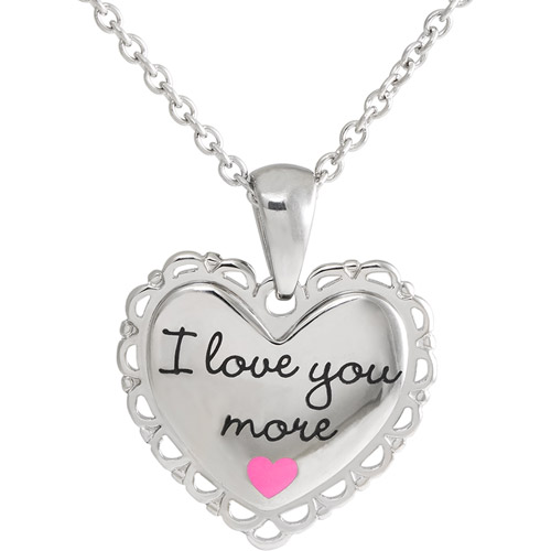 "Connections from Hallmark Girls' Stainless Steel ""I Love You More"" Heart Pendant"