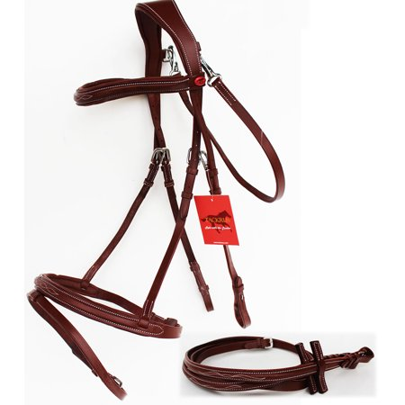 (Horse English Padded Leather  Raised Adjustable Padded  Flash Bridle Reins 803440)