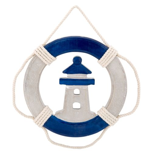 Wood Life Ring Preserver Lighthouse Wall Plaque Beach Decor