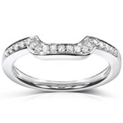 Annello 14k White Gold 1/10ct TDW Diamond Curved Wedding Band (H-I, I1-I2) Size 6