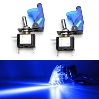 iJDMTOY (2) Aircraft Style 12V/20A Blue LED Illuminated On/OFF SPST Toggle Switch w/ Safety Flip Cover