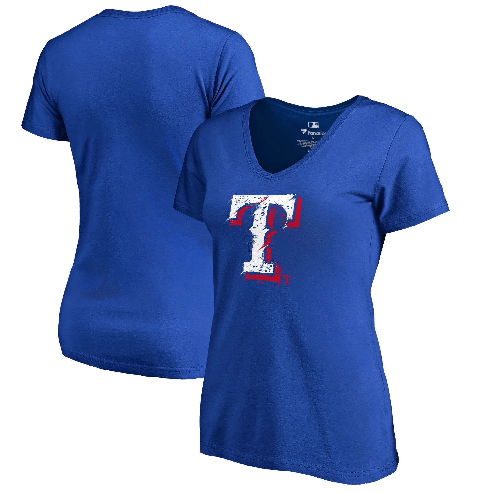 Texas Rangers Fanatics Branded Women's Splatter Logo V-Neck T-Shirt - Royal
